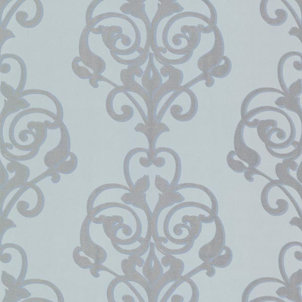 Aeneas Blue Modern Damask Wallpaper