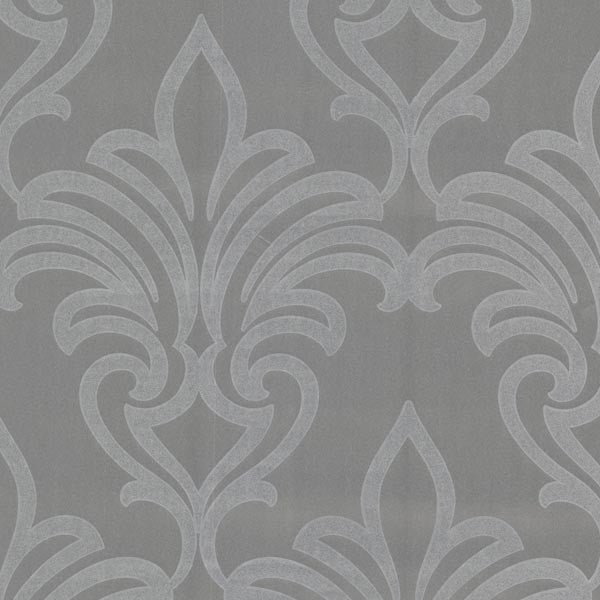 Arras Silver New Damask Wallpaper