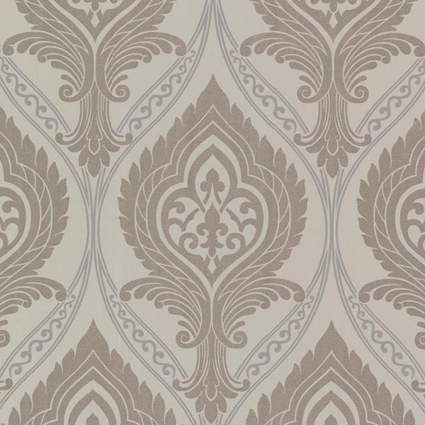 Acasta Grey Damask Wallpaper