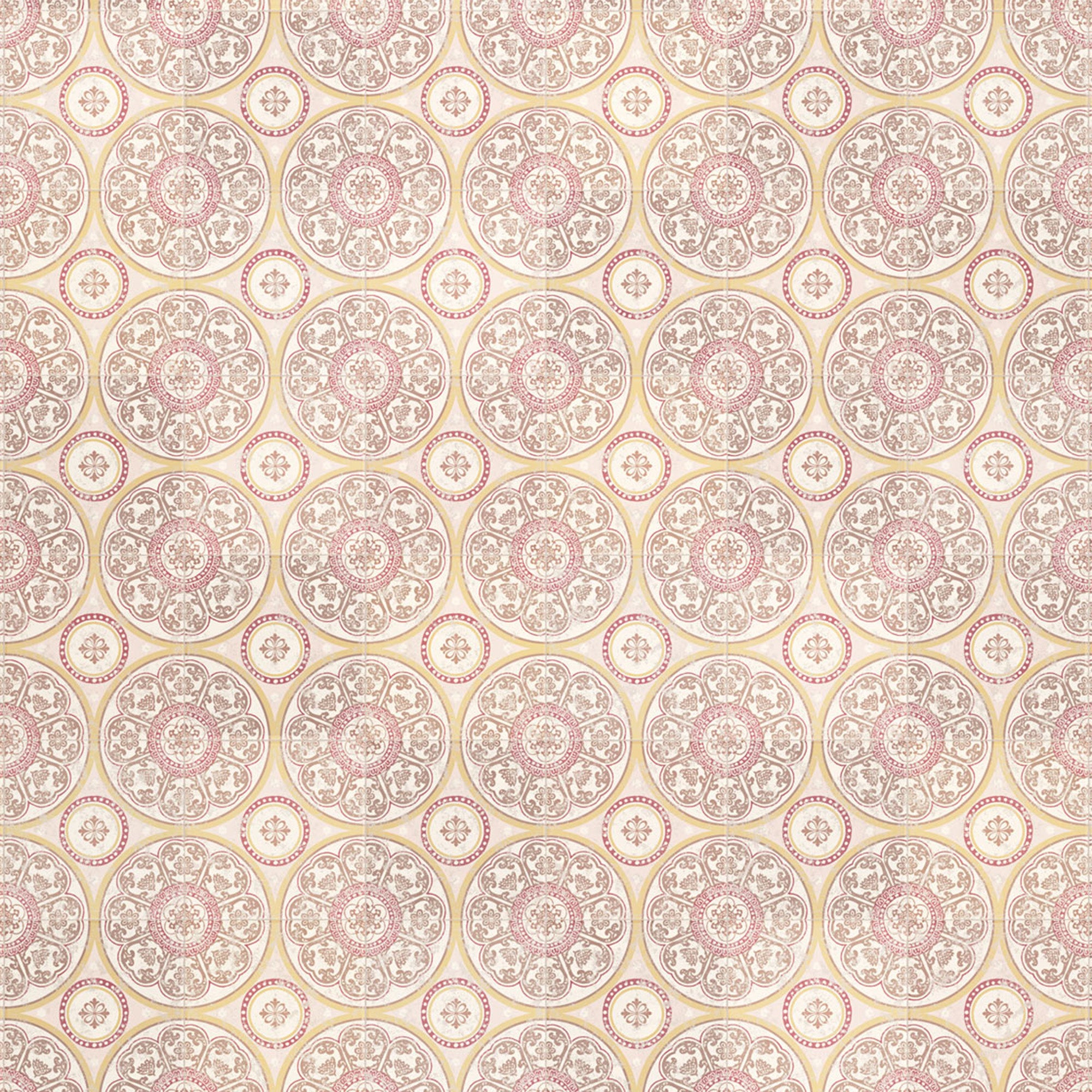 Large Pink Rosettes And Circle Tiles In Pink And Yellow On Beige. 52117 42
