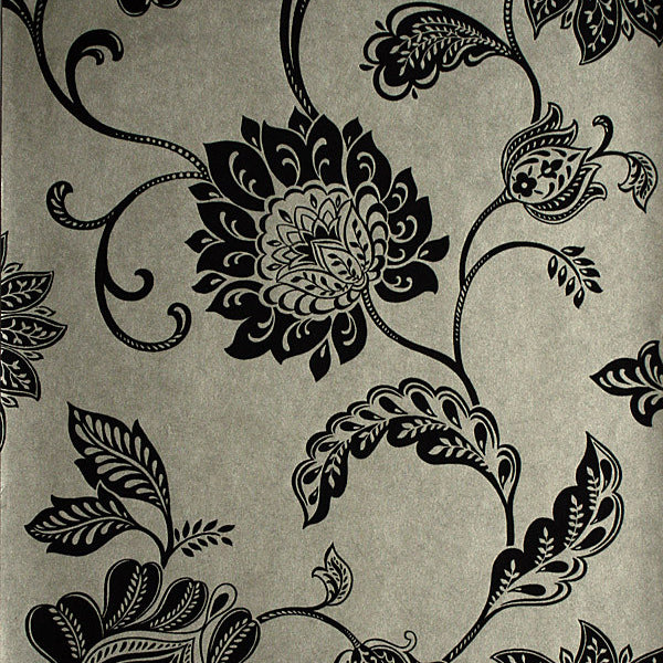 Lillith Pewter Jacobean Trail Wallpaper
