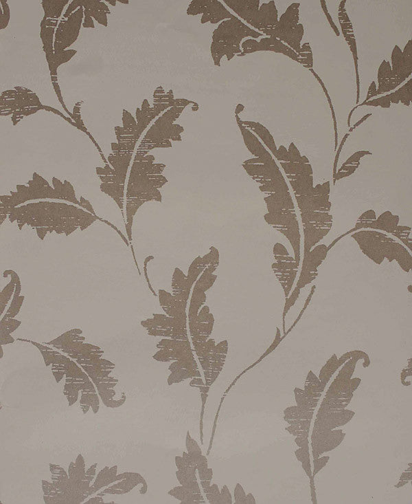 Amore Taupe Leaf Trail Wallpaper