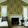 Vincenzo Taupe Linen Damask Wallpaper