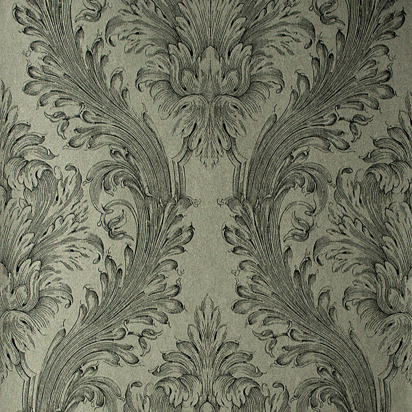 Vincenzo Silver Linen Damask Wallpaper