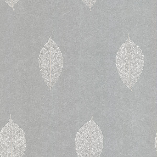 Malabar Light Grey Leaf Wallpaper