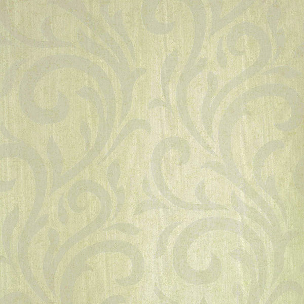 Dante Light Green Swirl Wallpaper
