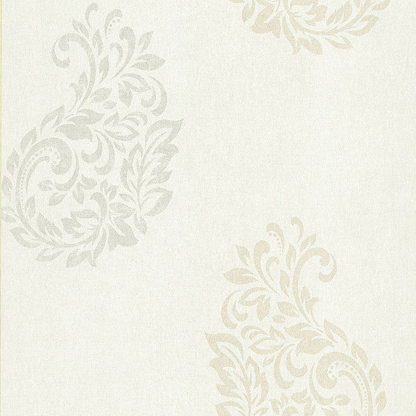 Baja White Paisley Spot Wallpaper