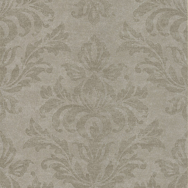 Royale Pewter Large Damask Wallpaper