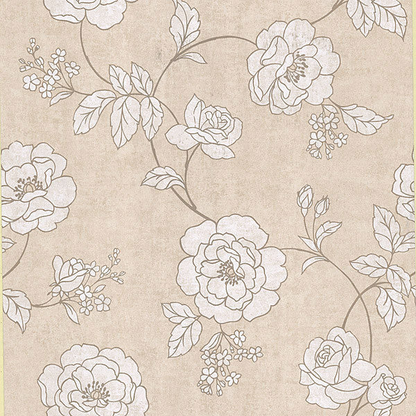 Madelaine Beige Outline Rose Wallpaper
