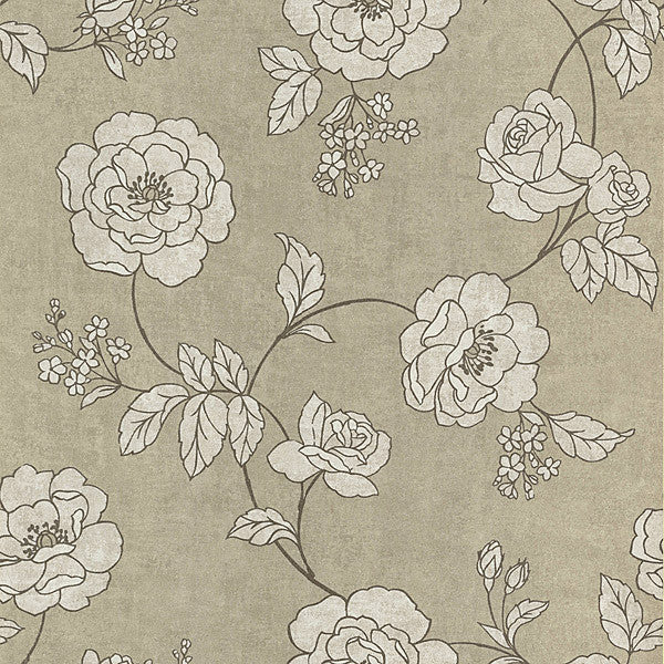 Madelaine Pewter Outline Rose Wallpaper
