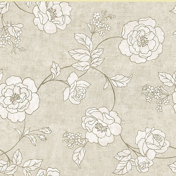 Madelaine Taupe Outline Rose Wallpaper