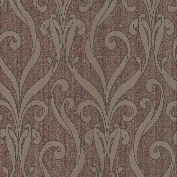 Medusa Burgundy Swirl Modern Damask Wallpaper