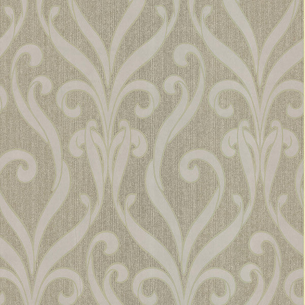 Medusa Gold Swirl Modern Damask Wallpaper