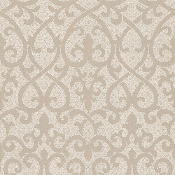 Giselle Light Brown Ironwork Damask Wallpaper