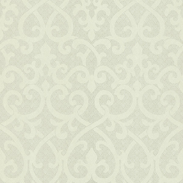 Giselle Light Green Ironwork Damask Wallpaper