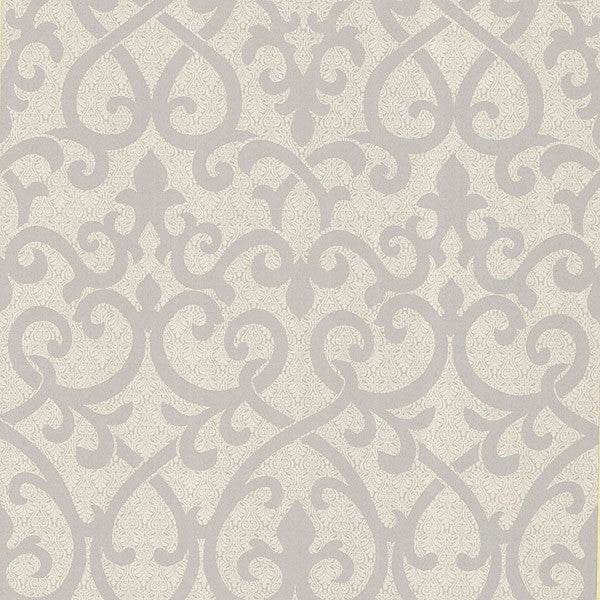 Giselle Light Grey Ironwork Damask Wallpaper