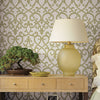 Giselle Olive Ironwork Damask Wallpaper