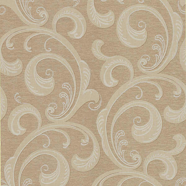Nijah Light Brown Scroll Wallpaper