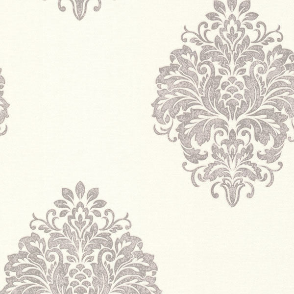 Duchess Silver Damask Wallpaper