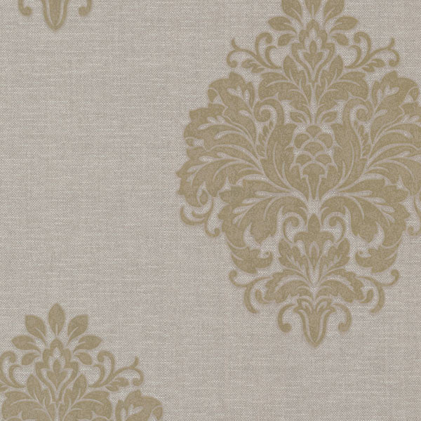 Duchess Taupe Damask Wallpaper