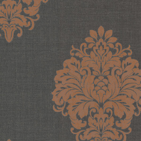 Duchess Orange Damask Wallpaper