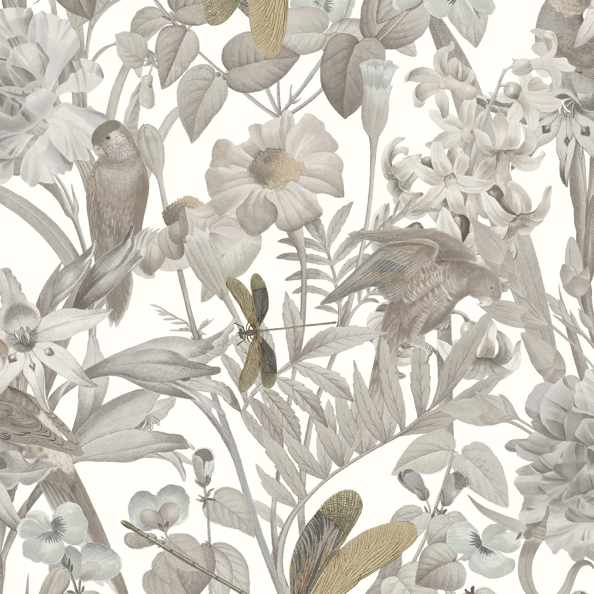 Tropical Floral In Taupe And Tan, 8191 33