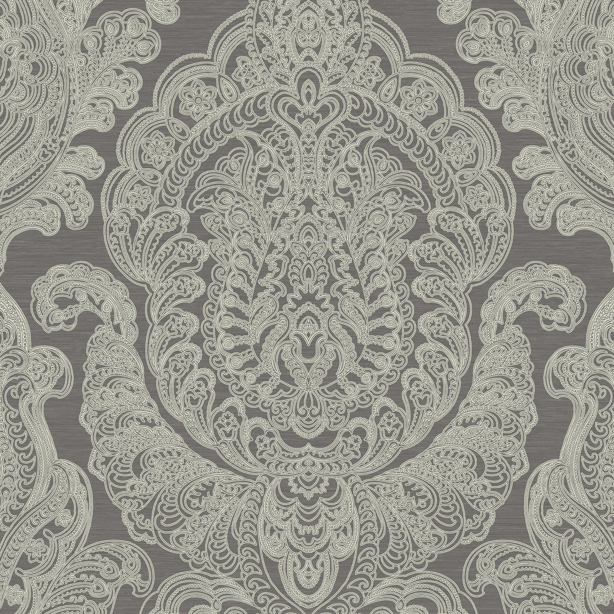 Damask In Silver And Charcoal,  8192 36