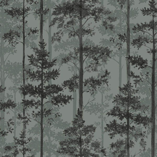 Pine Sage Silhouette Trees Wallpaper