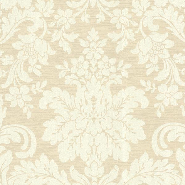 Birgitta Beige Damask Wallpaper