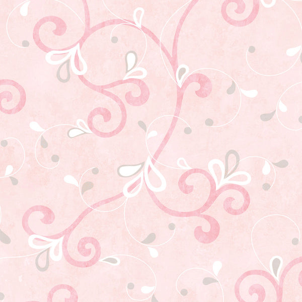 Jada Pink Girly Floral Scroll Wallpaper Wallpaper