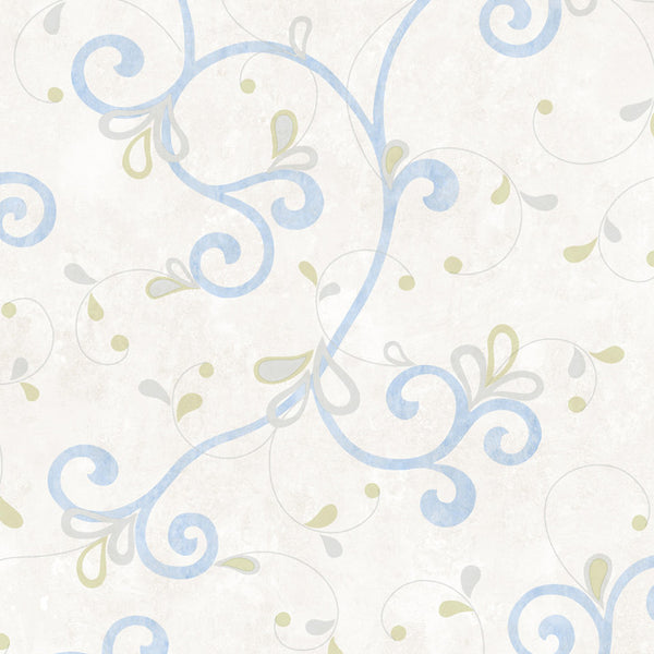 Jada Light Blue Girly Floral Scroll Wallpaper Wallpaper