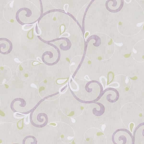 Jada Lilac Girly Floral Scroll Wallpaper Wallpaper
