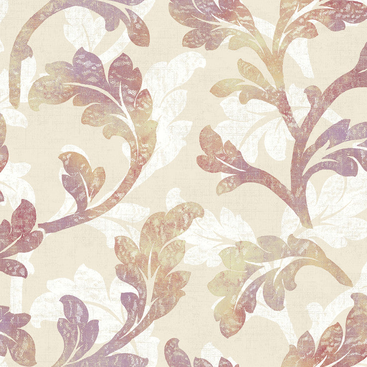 Natalia Taupe Floral Scroll Wallpaper Wallpaper