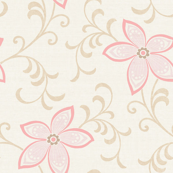 Khloe Green Girly Floral Scroll Wallpaper Wallpaper