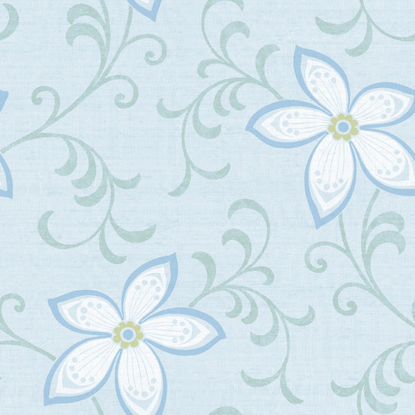 Khloe Light Blue Girly Floral Scroll Wallpaper Wallpaper