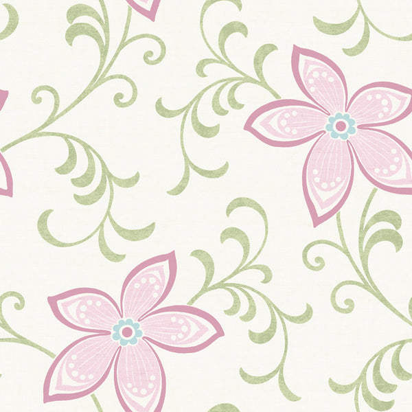 Khloe Pink Girly Floral Scroll Wallpaper Wallpaper