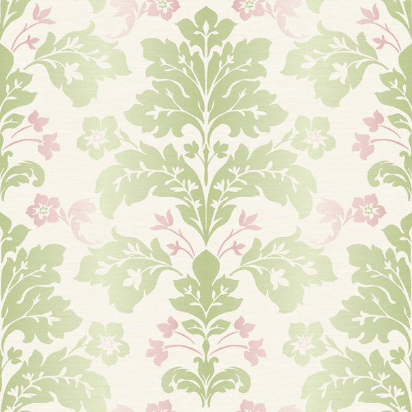 Camila Green Modern Damask Wallpaper Wallpaper