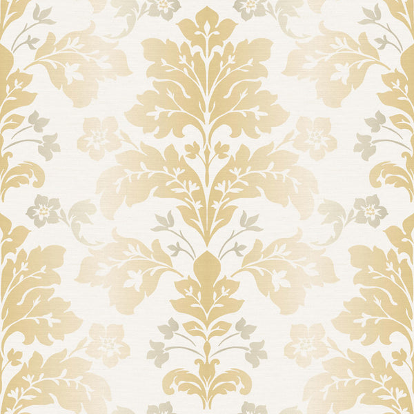 Camila Yellow Modern Damask Wallpaper Wallpaper