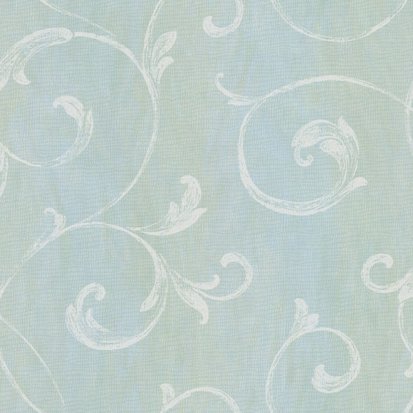 Gibby Aqua Leafy Scroll Wallpaper Wallpaper
