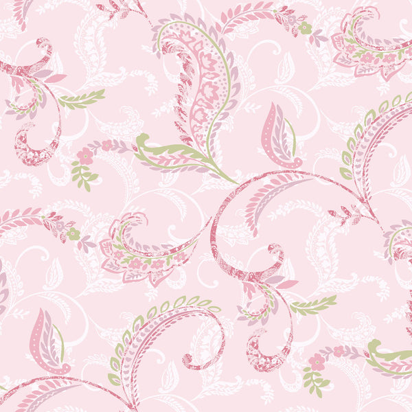 Riley Pink Paisley Scroll Wallpaper Wallpaper