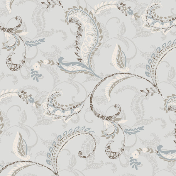 Riley Blue Paisley Scroll Wallpaper Wallpaper