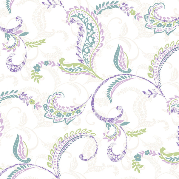 Riley Lilac Paisley Scroll Wallpaper Wallpaper