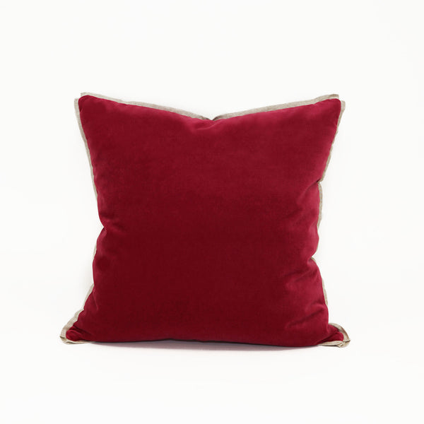 Union Square Velvet Persian Red With Linen Flange Cl28
