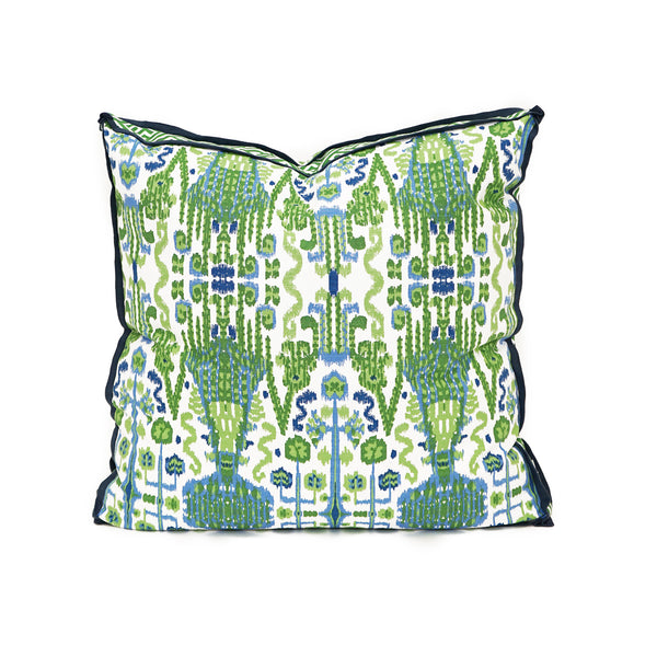 Ikat Pistachio With Navy Linen Flange CL36