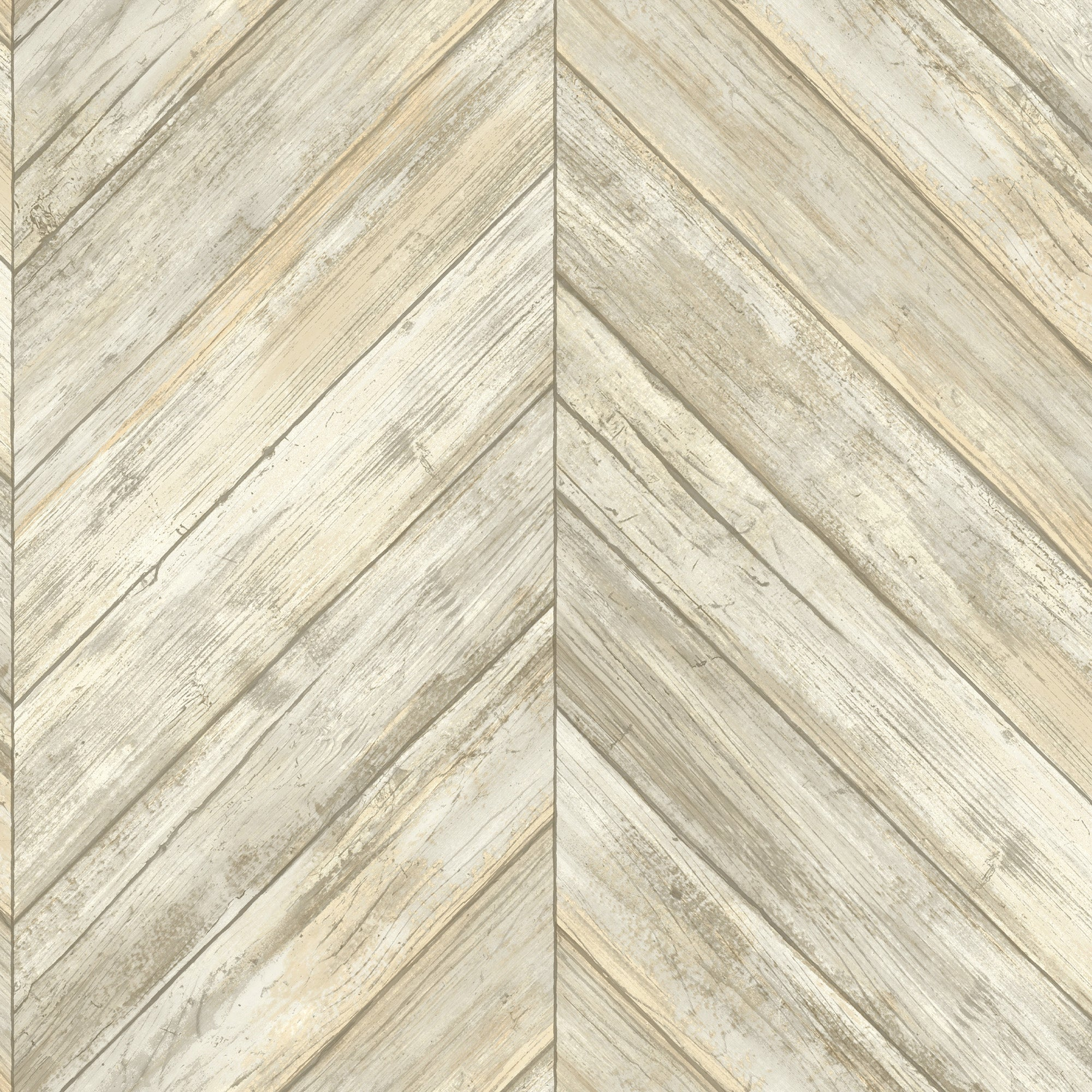 Herringbone Wood Boards Wallpaper - Beige