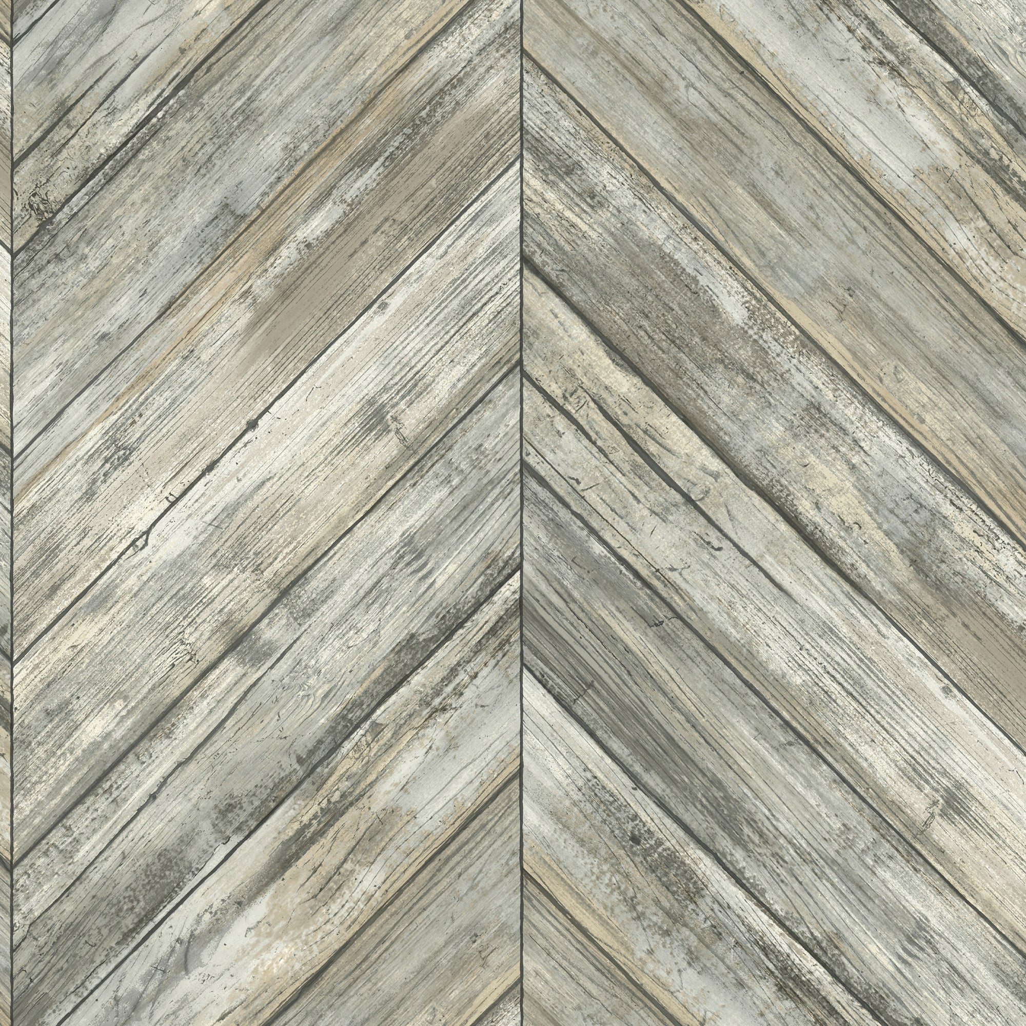 Herringbone Wood Boards Wallpaper - Charcoal
