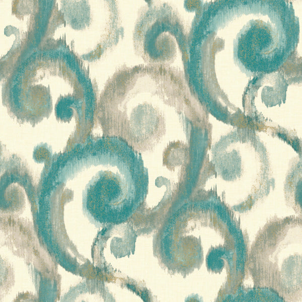 Modern Artisan Arabesque Wallpaper in Grey/silver