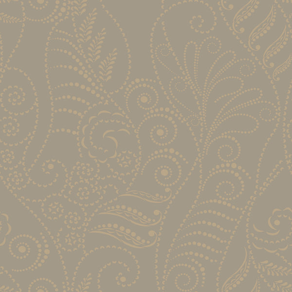 Candice Olson Modern Fern Wallpaper - Antique Gold On Taupe