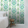 Bowles Green Damask Wallpaper