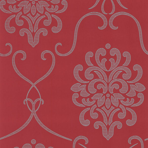 Suzette Red Modern Damask Wallpaper